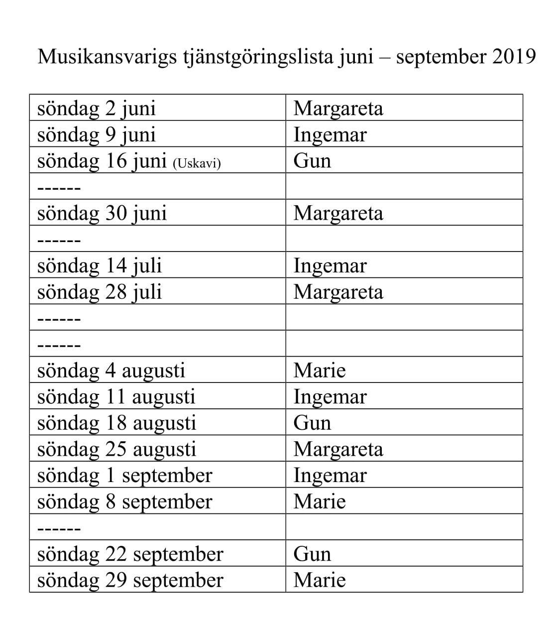 Musikansvarigs tjänstgöringslista juni - september 2019 --1