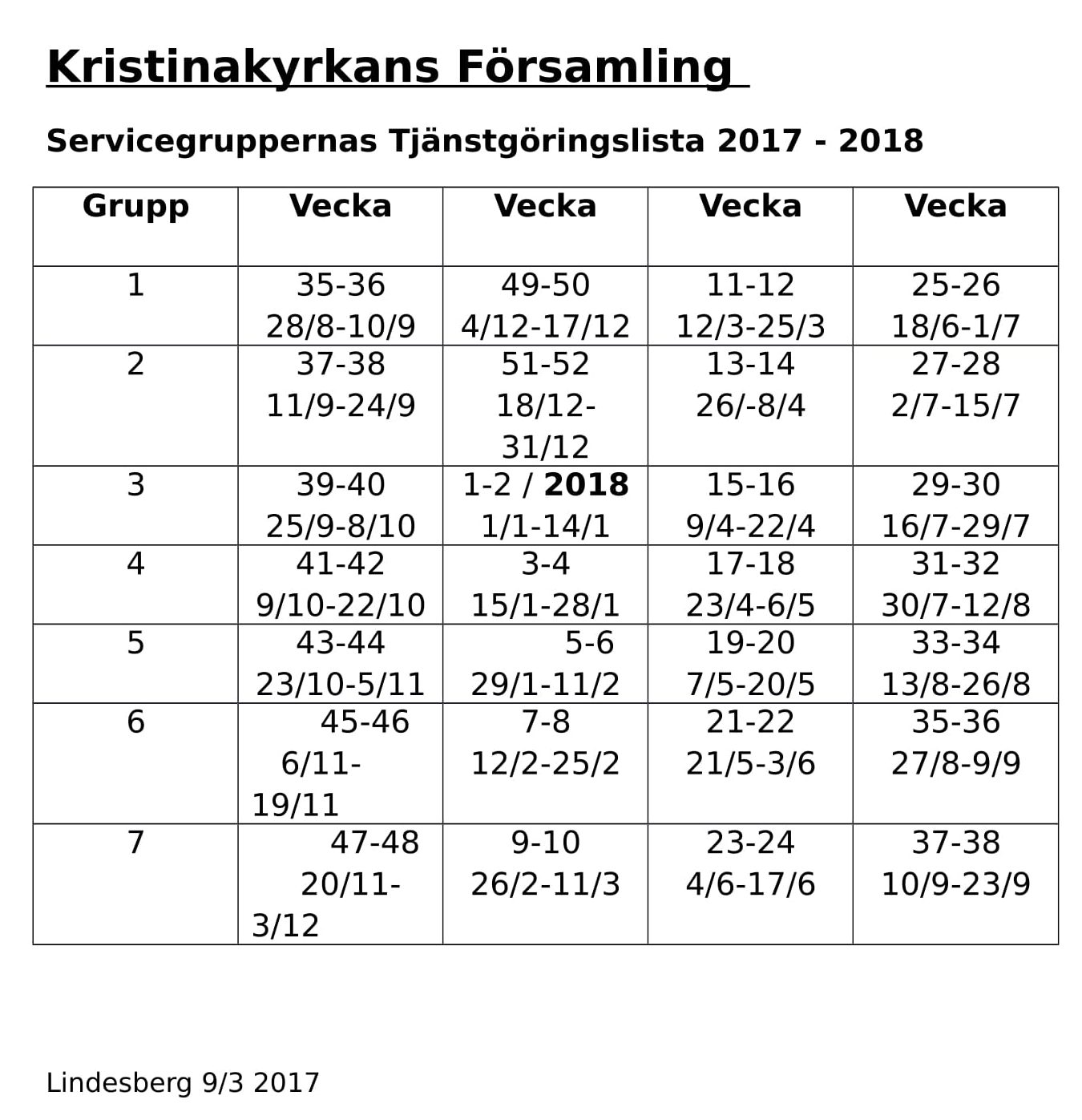 servicegruppernas tjänstgöringslista 2017-2018-1